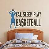"""Baloncesto Vinilo Adhesivo Pared Pared, con cita de baloncesto jugador de baloncesto pared Graphic niños habitación Arte decoración, vinilo, C, 34""""hx57""""w"""