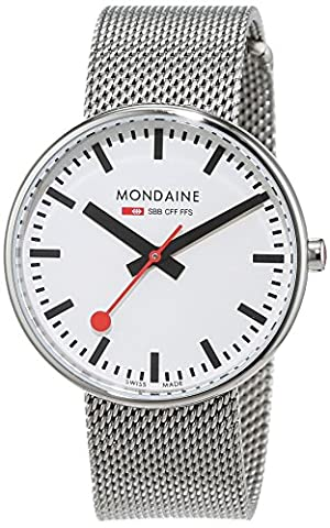 Mondaine Unisex Quartz Watch with White Dial Analogue Display and