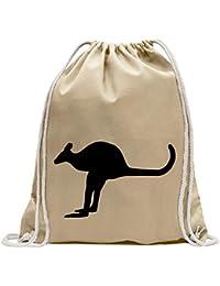 68b06d715815b KIWISTAR - Känguru Kangaroo Beuteltier Turnbeutel Fun Rucksack Sport Beutel  Gymsack Baumwolle mit…