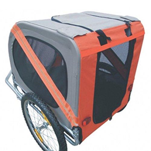 Hundeanhänger Fahrrad Hundefahrradanhänger orange-grau mit Sicherheits-Drehkupplung - 3