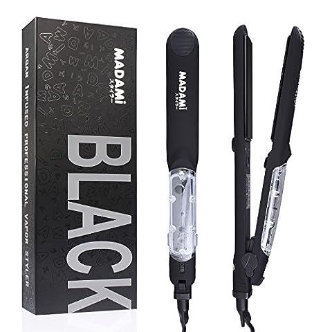 MADAMI Black Professionnel Lisseur Vapeur Fer à Lisser Plaque Cheveux, Céramique Tourmaline, avec Affichage LED, pour Cheveux Raids, Soin d'Argan, Noir