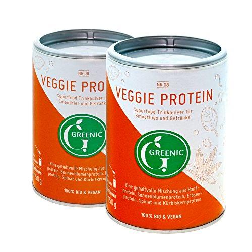 Mischung Smoothie Pulver Green (Superfood Veggie Protein, Doppelpack. Trinkpulver Mischung, 2 x 150 g von Greenic.)