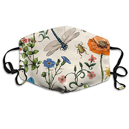 Natural Flowers and Insects Face Mask, Reuseable Polyester Face Mouth Mask Respirator for Cycling Anti-Dust for Unisex Men Women Kids - Insect Guard
