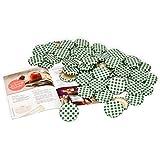 MamboCat 50er Set Deckel TO 43, passend für 37 ml/53 ml Gläser, grün kariert lackiert, Schraubdeckel für Sturzgläser, mit Gummidichtung incl. GRATIS Diamant-Zucker Rezeptheft