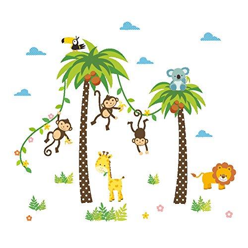 dschungel wandtattoo ElecMotive Dschungel Abnehmbare Wandsticker Kinderzimmer Babyzimmer Deco für Geburtstag Party in Geschenk Verpackung