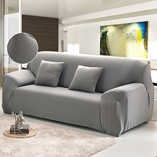 Copridivano elasticizzato 3 posti con braccioli universale in poliesteri spandex copertura divano tinta unita (grigio)