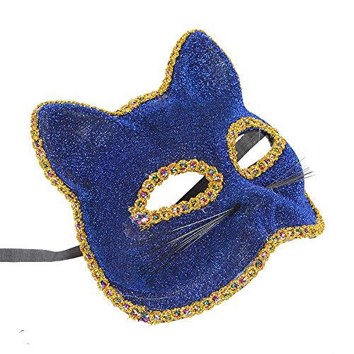 (zllyl Masken Venezianische Maske Weihnachten Halloween Maske Katze Gesicht gemalt Maske, blau)