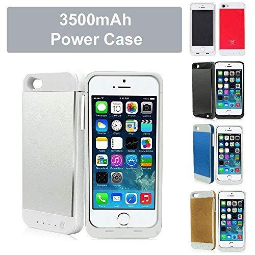 REALMAX® 3500mAh Power Bank Case für iPhone 5 und iPhone 5S mit 4 LED-Power-Anzeige wiederaufladbar verlängert Akku-Gehäuse schlank externe Backup-Ladegerät kompakte iPhone 5 & 5S Reise-Ladegerät Batterie Backup Case (Silber)