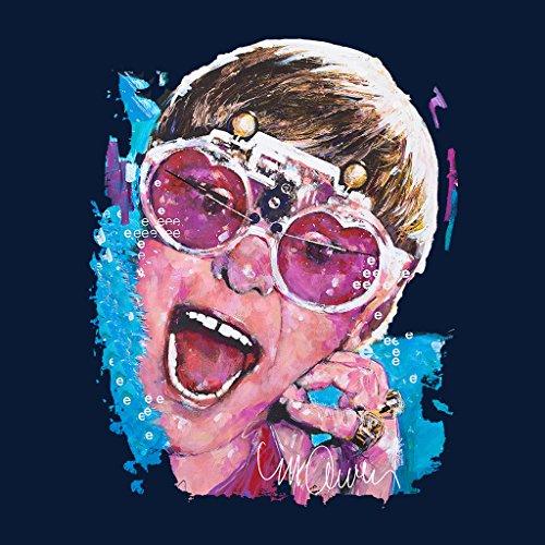 Sidney Maurer Elton John Pink Glasses Official Women's Sweatshirt Navy blue