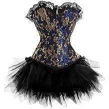 Rosfajiama Satin con falda tutú corsé de encaje de Burlesque Plus tamaño vestido de las mujeres