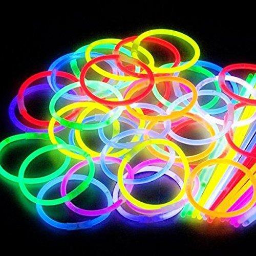 100 Knicklichter, Glow Sticks, Leuchtsticks+5 Leuchtbrille+5 Leucht Haarreifen+100Konnektoren+Kreisverbinder - Leuchtstoff-shop-leuchten
