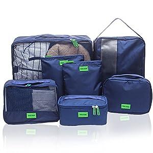 Hiveseen 7 set Sac Organisateur de Valise Voyage, Travel Organiser Packing Cubes, Nylon Imperméable, Pochette Rangement Bagage Compression pour Chaussures Vetement Serviettes Articles Cosmétiques