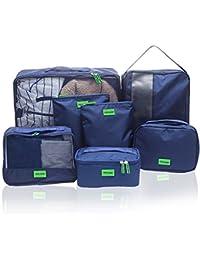 Hiveseen 7 En 1 Bolsas Organizador De Maletas Viaje, Packing Cube Nylon Impermeable, Organizar Equipaje Y Mochila Para Guardar Ropa, Ropa Interior, Ropa Sucia, Zapatos