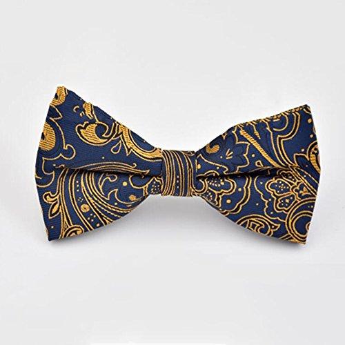 Krawatten YIXINYI Fliege Männer Bowknot Jacquard Pre-Tied Kleid Heiraten Hochzeit (Farbe : Fashion Gold) Gold Pretied Bow Tie