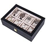 Songmics-Caja-joyero-Estuche-para-relojes-Organizador-para-joyas-con-8-compartimientos-Negro-JWB08B