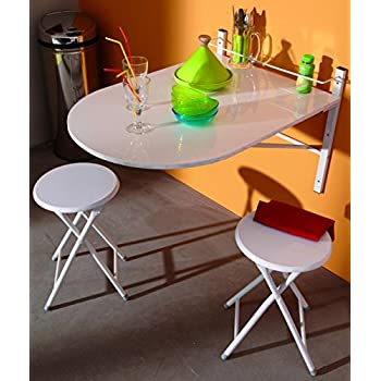 Küchentisch Mit Regal Und 2 Stühlen, Klappbar, Holz: Amazon.De