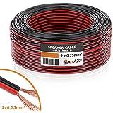 Manax Lautsprecherkabel Boxenkabel 2 x 0,75 mm² CCA rot/schwarz 50 m Rolle