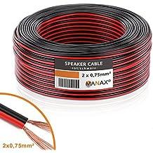 Manax–Cable de altavoz (2x 0,75mm², CCA, Rojo/Negro rollo de 50m