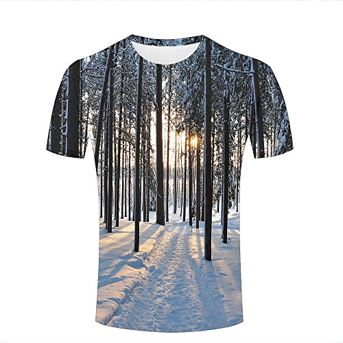 ouzhouxijia Mens T-Shirts 3D Printed Winter Trees Forest Road Graphic Couple Tees A