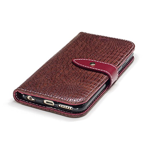 Nutbro iPhone 6S Wallet Case,iPhone 6 Case,Crocodile Pattern Phone Case Pu Leather Wallet Case with Built-in Credit Card Slots Wallet Case BF-iPhone-6-89
