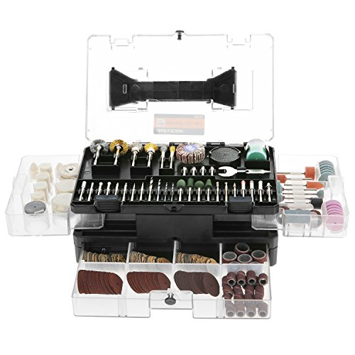 """Accessori per utensili rotanti,Meterk 349pcs Set di accessori per multiuso utensili rotanti 1/8""""per un facile taglio, Rettifica di levigatura, Incisione di,foratura,Lucidatura,Progetto fai-da-te"""
