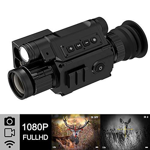 BESTSUGER Digitales Nachtsichtgerät Monokular Jagd-Kamera mit WiFi APP 6.5-12X IR-Nachtsicht 850Nm monokulare Passen für wild lebende Tiere Jagderkennung Beobachtung
