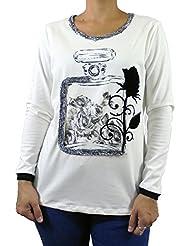 Camiseta mujer manga larga color blanco con estampado perfume y rosas t-shirt