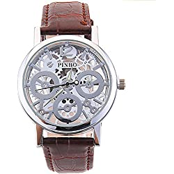 WANGSCANIS® 2016 NEW RELEASE Men's Skeleton Dial Leather Strap Luxury Self-Wind Up Mechanical Automatic Steampunk Watch (Brown&Silver)