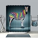 DECMAY Anti-schimmel Duschvorhang Wassserdicht Anti-Bakteriell Duschvorhang Badvorhang für Badezimmer mit 12 Duschvorhangringe 180x180cm Farbe Zebra