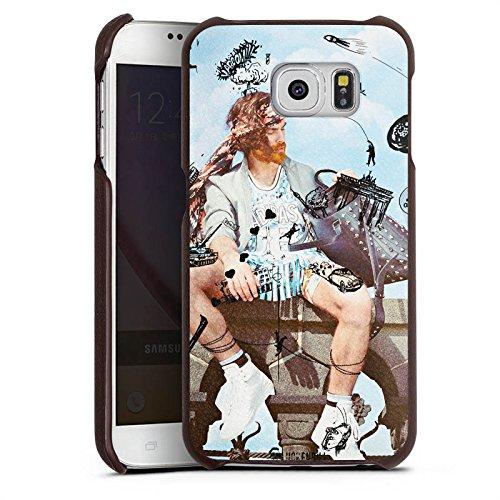 Samsung Galaxy S6 Lederhülle Leder Case Leder Handyhülle Mann Handtasche Hubschrauber (Handtaschen Kollektionen Aus Leder)