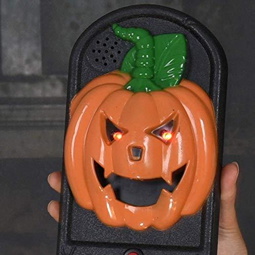 (LINGJUN Halloween Türklingel Auge Glühen Horror Totenkopf Requisiten Für Party Tür Dekoration (Kürbis))