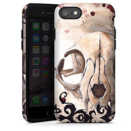 Apple iPhone X Silikon Hülle Case Schutzhülle Katzenschädel Totenkopf Katze Tough Case glänzend