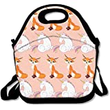 Cute Fox And Unicorn Handy Portable Zipper Lunch Box Lunch Tote Lunch Tote Bags