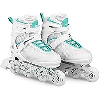Hop-Sport 3in1 Inliner Inlineskates/Roller / Triskates für Damenr/Verstellbar / Farbe: Weiss-Mint - L 38-41