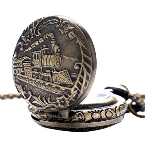 XY&DQ Taschenuhr Kleines zifferblatt Vintage Zug lokomotive Muster Quarz Halskette anhänger taschenuhr trainingsuhr, Bronze