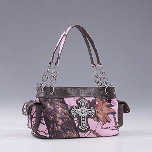 Emperia Damen-Piper Mossy Oak Kreuz Tasche mit Strass, damen, Pink Camouflage/Dark Brown Trim, 14.5 x 5.5 x 7.5-Inch