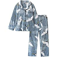 DUKUNKUN Rebeca De Solapa Algodón De Manga Larga Pijamas Estampados Mujeres Conjunto De Pijamas Four Seasons,M