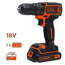 BLACK+DECKER BDCDC18K1-QW Perceuse-Visseuse sans fil - 650 trs/min - 1 batterie - Livrée en coffret, 18V, Coffret, 1 batterie