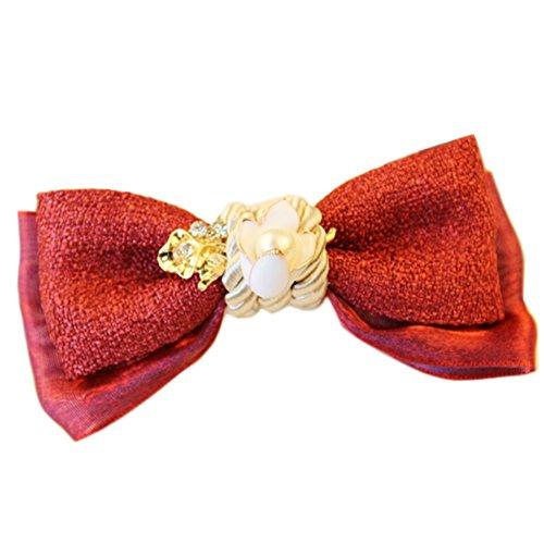 Elégant Cute Red Hair Bow Griffe Mode Barrette Creative Hair Claw/éping