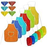 Grembiuli Bambini,Coxeer 18 Pezzi Bavaglini Grembiuli di Arte con Tasche Grembiuli Scuola Elementare per la Pittura e la Cottura