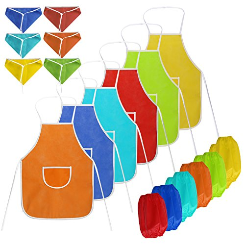 childrens-apronscoxeer-set-of-18-kids-painting-apron-with-pocket-childrens-aprons-and-chef-hat-craft