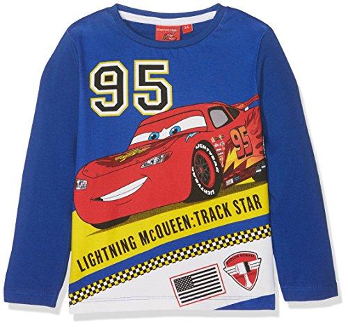 Disney Jungen Langarmshirt Cars Lightning Mc Queen Track Star, blau, Gr. 3 Jahre (Herstellergröße: 98 cm)