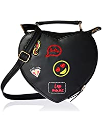 Kanvas Katha Heart Pu Sling Women's Bag (Beige)