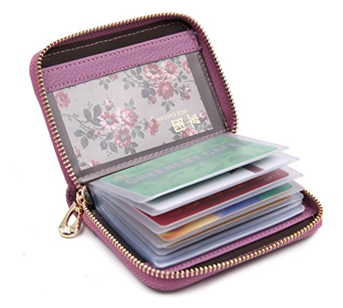 ZORESS Damen Echt Leder Kreditkartenetui Reißverschluss Scheckkarten Kartenetui Geldbörse Visitenkartenetui (Billig Guess Geldbörsen)
