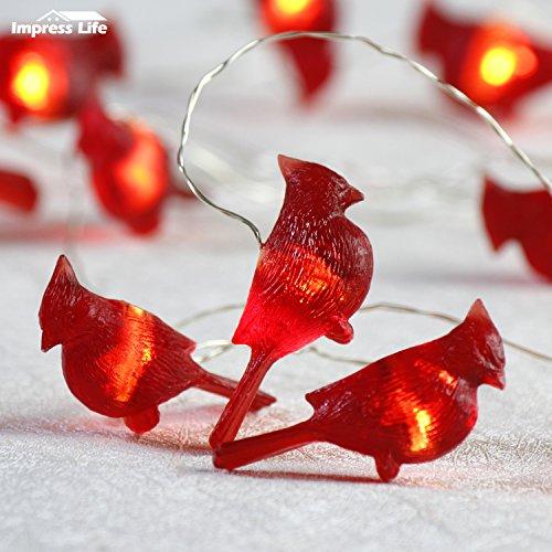 Weihnachtsdekoration Lichterkette Batterie, Roter Vogel Neujahr Dekorative Beleuchtung 10 ft 20 LEDs (großes Symbol) mit Fernbedienung für Weihnachtsbaum, DIY Home Geburtstag Hochzeitsfeier (Vogel-ornamente Weihnachten)