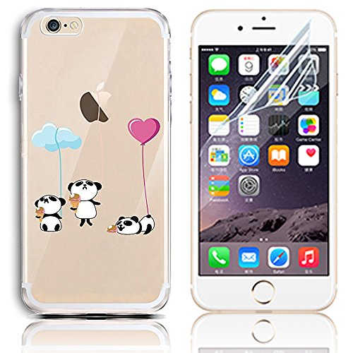 Coque iPhone 7, Etui iPhone 7 Transparent Etui Housse de Protection TPU Silicone Gel Souple Clair Crystal Case Cover Sunroyal® Ultra Mince Premium Telephone Portable Skin Hybrid Clear Bumper [Absorban Motif 24
