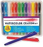 Studio Series Watercolor Crayon Set: 12 Water Soluble Gel Crayons: Royal Blue, Sky Blue, White, Yellow, Red, Grass Green, Emerald Green, Violet, Pink, Orange, Brown, Black