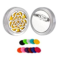 HooAMI Celtic Knot Essential Oil Diffuser Brooch Stainless Steel Magnet Locket 25mm with 11 Pads