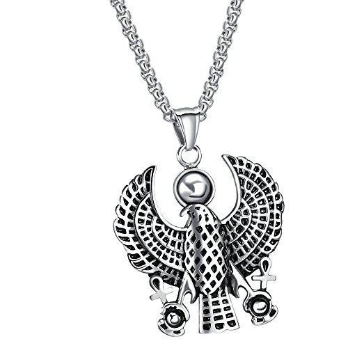 Onefeart Edelstahl Anhänger Halskette für Männer Junge Ägypten Adler Patron Heiliger Horus Kette 55CM ()