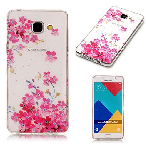 Baiwoda Samsung Galaxy A5 2016 SM-A510F Custodia in Silicone TPU Cover Ultra Sottile Durevole Chiaro Morbido Leggero Cover AntiGraffio Cover Protettiva con Design Unico-Fiori Rossi